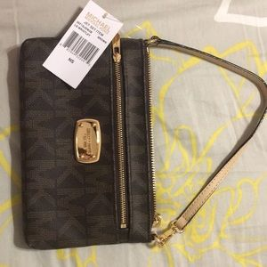 Michael Kors large wristlet, brown